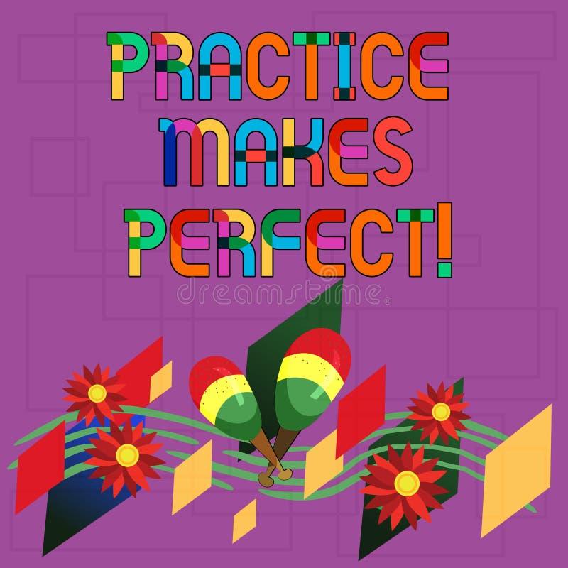 Sinal do texto que mostra Errando se aprende Exercício regular da foto conceptual da habilidade a tornar-se perita nele colorido ilustração do vetor