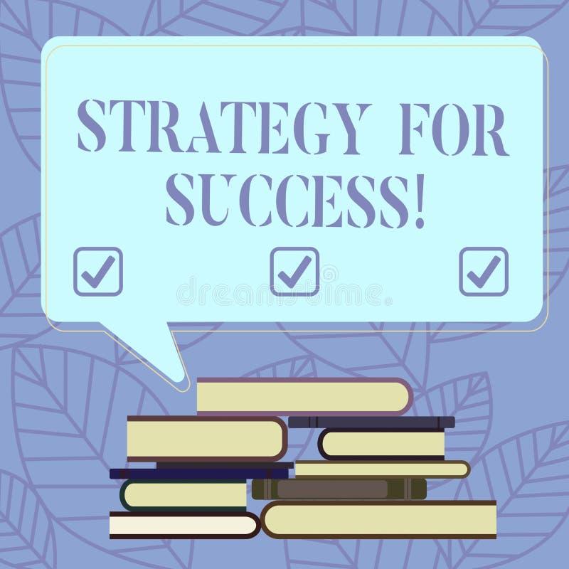 Sinal do texto que mostra a estratégia para o sucesso Plano conceptual da foto seguir para encontrar o desafio e para ganhar a pi ilustração royalty free