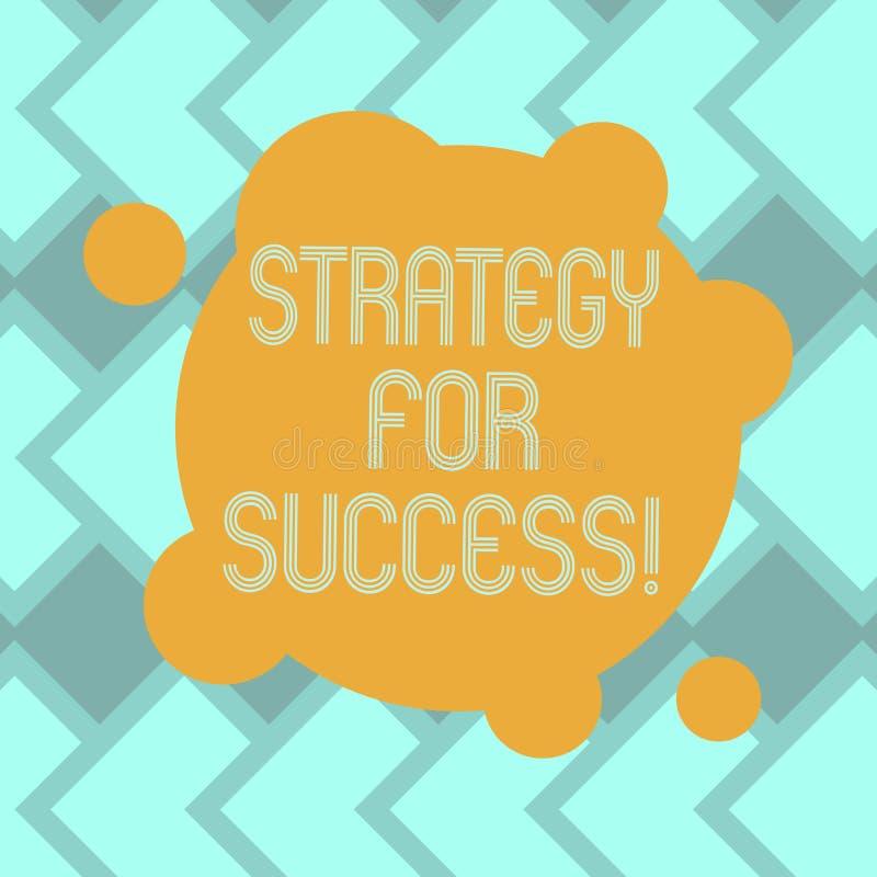 Sinal do texto que mostra a estratégia para o sucesso Plano conceptual da foto seguir para encontrar a placa do desafio e da vitó ilustração stock