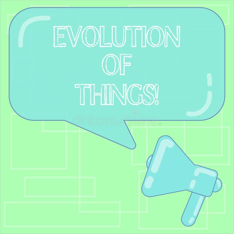 Sinal do texto que mostra a evolução das coisas A mudança gradual do processo conceptual da foto ocorre sobre gerações analysisy ilustração stock