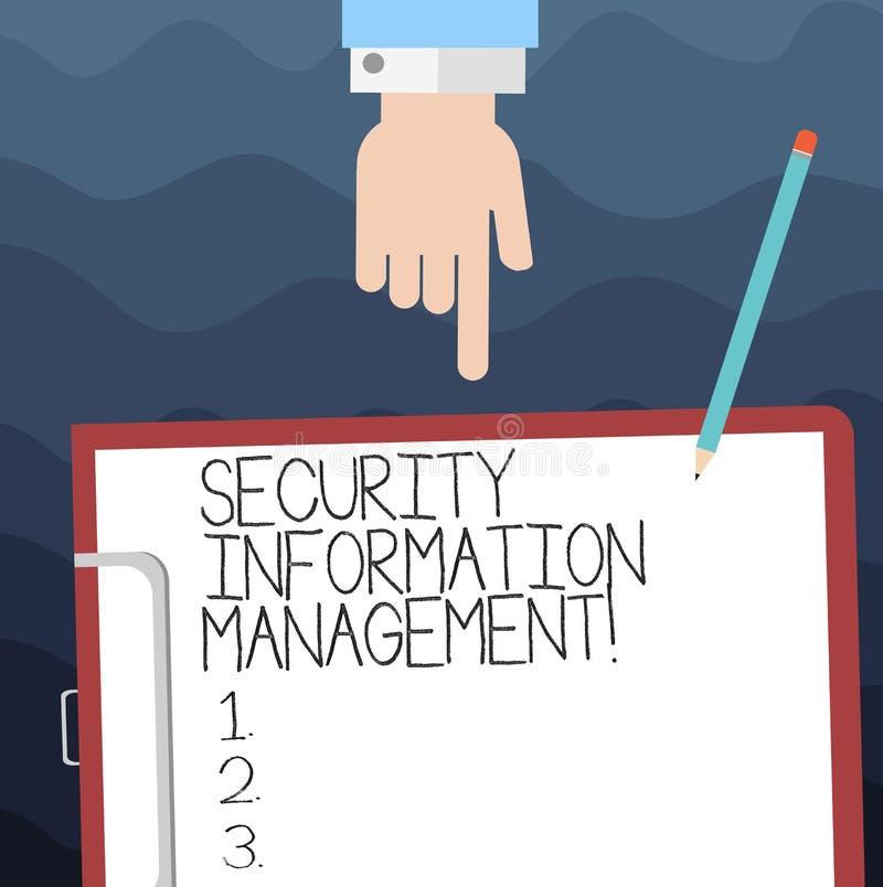 Sinal do texto que mostra a gestão da informação da segurança Foto conceptual que recolhe e que analisa logs Hu dos dados da segu ilustração do vetor