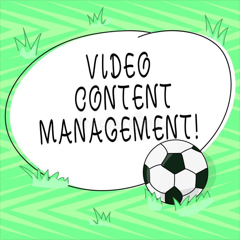 Sinal do texto que mostra a gestão satisfeita video A avaliação conceptual da foto de um s individual está resposta a uma bola de ilustração stock