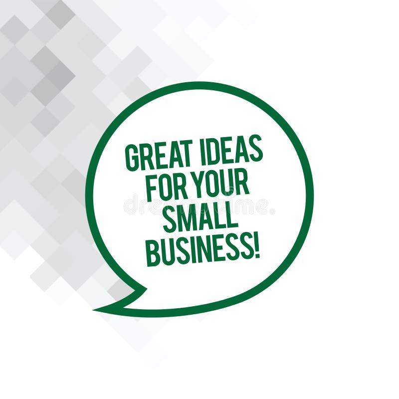 Sinal do texto que mostra grandes ideias para sua empresa de pequeno porte Boas soluções inovativas da foto conceptual para começ ilustração do vetor