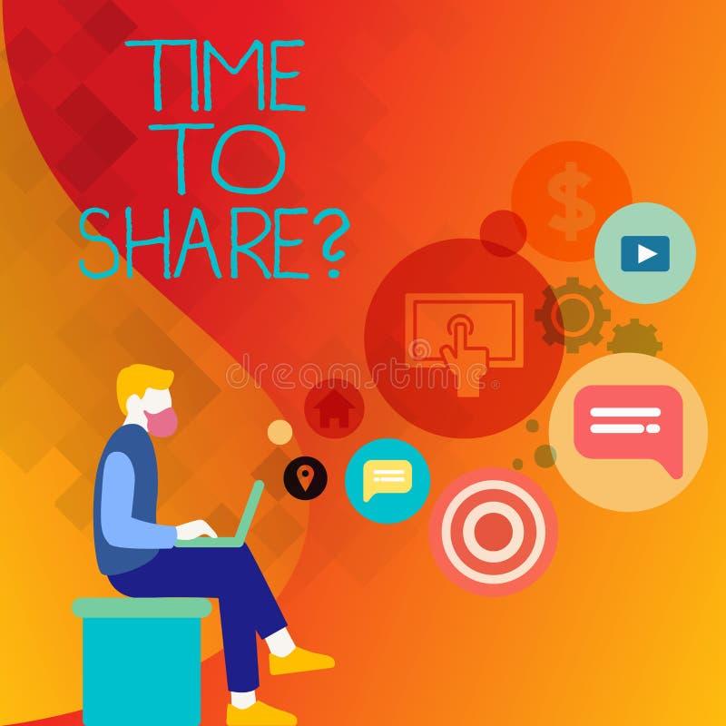 Sinal do texto que mostra a hora de compartilhar da pergunta Foto que conceptual você fica com a família dos amigos que compartil ilustração royalty free