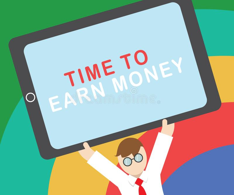 Sinal do texto que mostra a hora de ganhar o dinheiro A foto conceptual obtém paga para o trabalho feito investe no negócio ou na ilustração royalty free