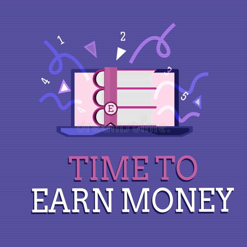 Sinal do texto que mostra a hora de ganhar o dinheiro A foto conceptual obtém paga para o trabalho feito investe no negócio ou na ilustração stock