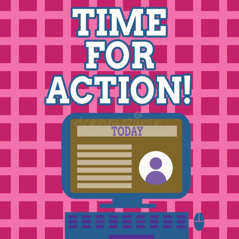 Sinal do texto que mostra a hora para a ação Trabalho conceptual do desafio do incentivo do movimento da urgência da foto ilustração stock