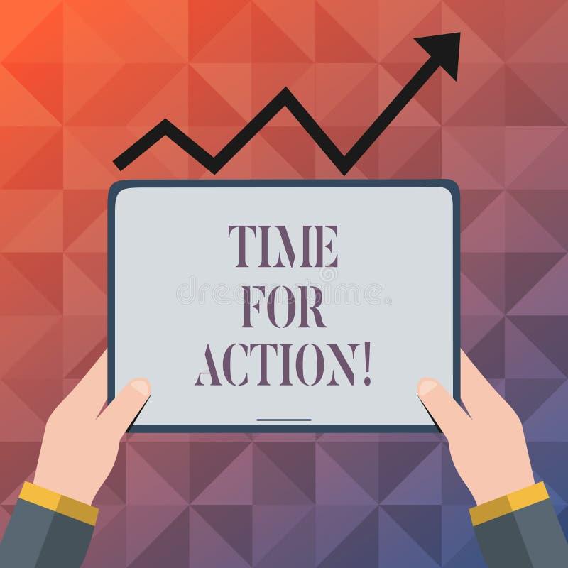 Sinal do texto que mostra a hora para a ação Trabalho conceptual do desafio do incentivo do movimento da urgência da foto ilustração do vetor