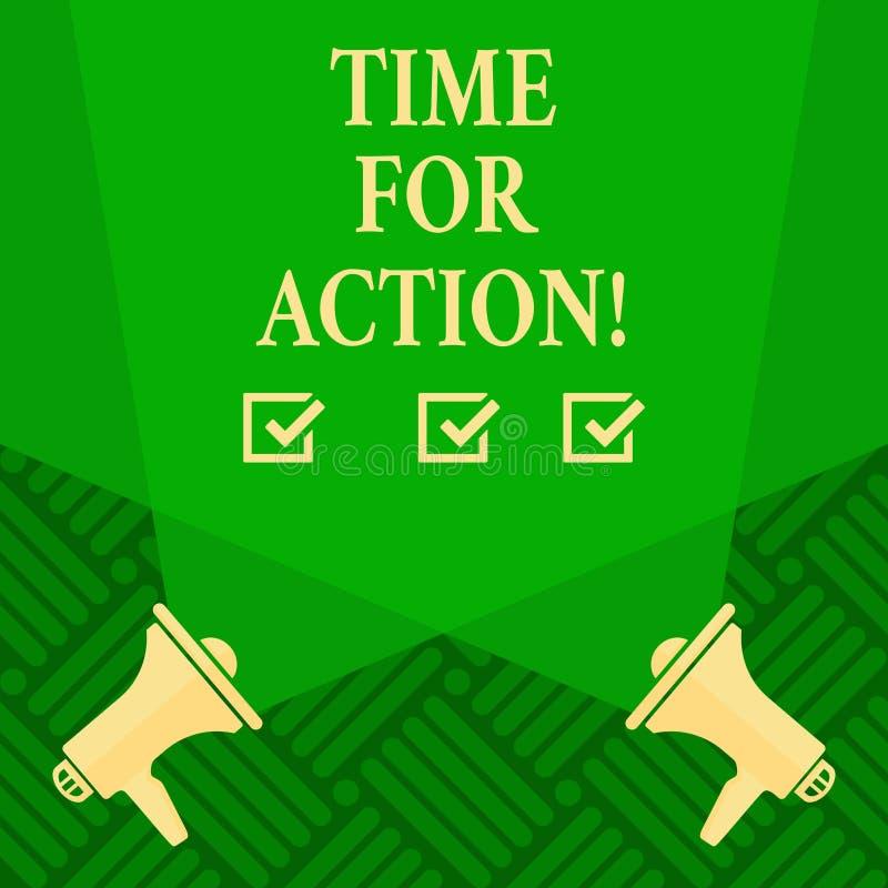 Sinal do texto que mostra a hora para a ação Trabalho conceptual do desafio do incentivo do movimento da urgência da foto ilustração royalty free