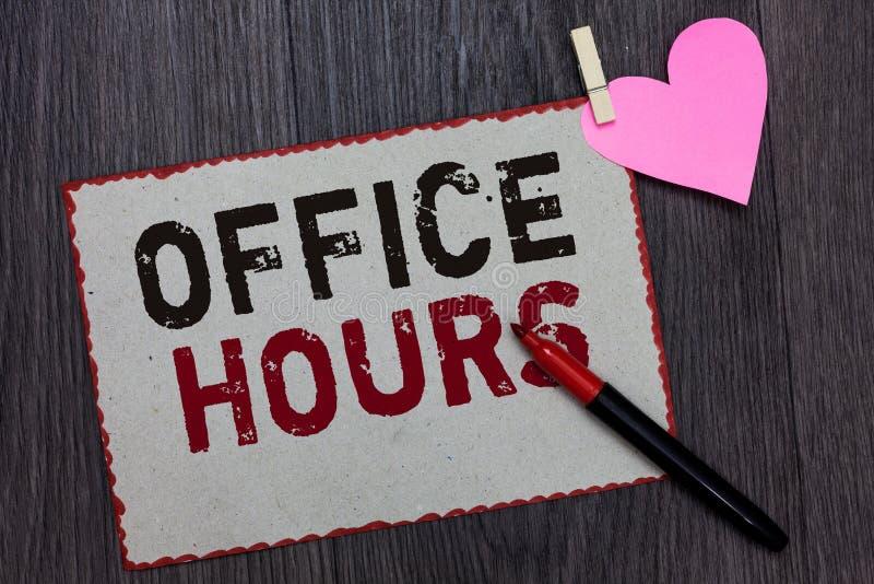 Sinal do texto que mostra horas de escritório Foto conceptual as horas que o negócio é normalmente beira conduzida do vermelho da imagem de stock royalty free