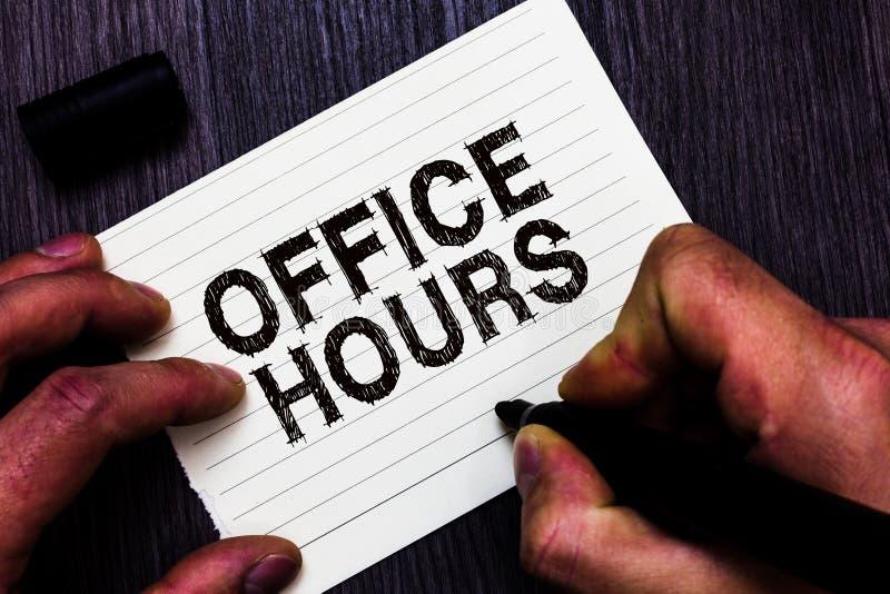 Sinal do texto que mostra horas de escritório Foto conceptual as horas que o negócio é normalmente homem conduzido do tempo de fu imagens de stock