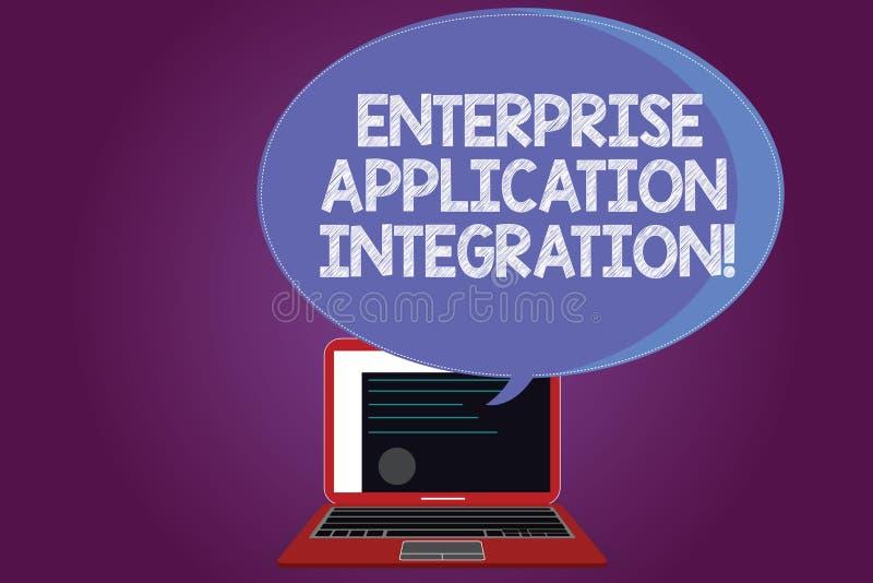 Sinal do texto que mostra a integração da aplicação da empresa Certificado de conexão das aplicações da empresa da foto conceptua ilustração stock