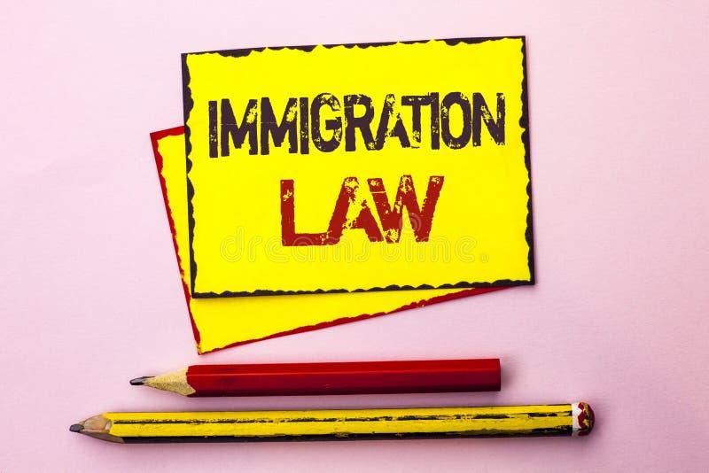 Sinal do texto que mostra a lei da imigração Regulamentos nacionais da foto conceptual para as regras da deporta16cao dos imigran imagem de stock royalty free