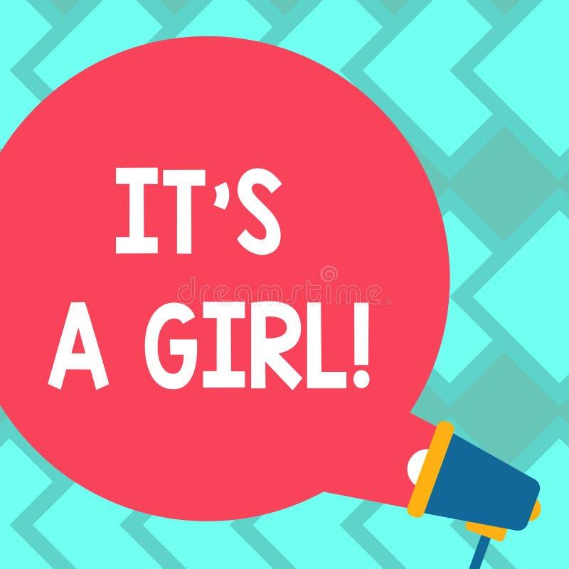 Sinal do texto que mostra lhe a menina de S A O gênero de vinda do bebê fêmea conceptual da foto revela a bolha redonda do discur foto de stock