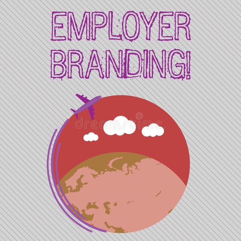 Sinal do texto que mostra a marcagem com ferro quente do empregador Foto conceptual que promove a escolha do empregador da empres ilustração stock