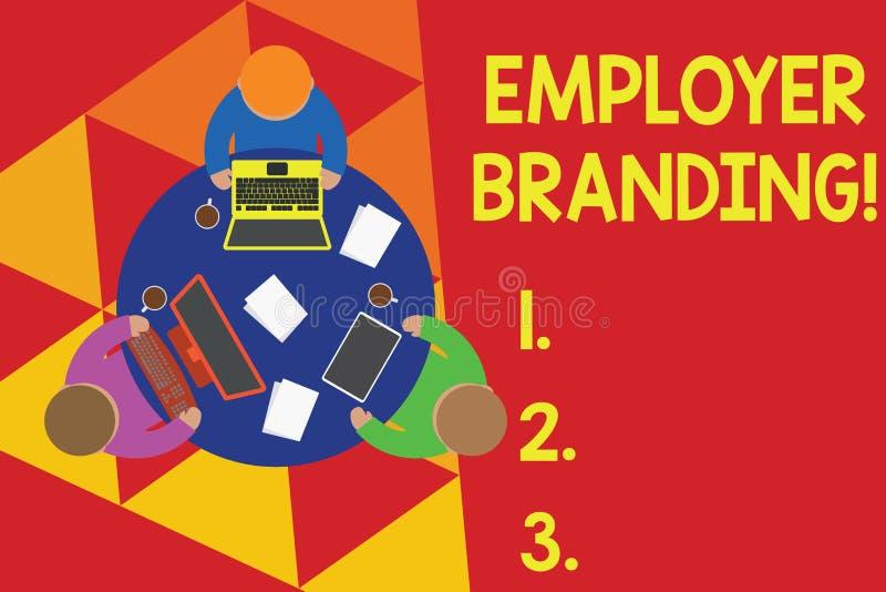 Sinal do texto que mostra a marcagem com ferro quente do empregador Foto conceptual que promove a escolha do empregador da empres ilustração do vetor