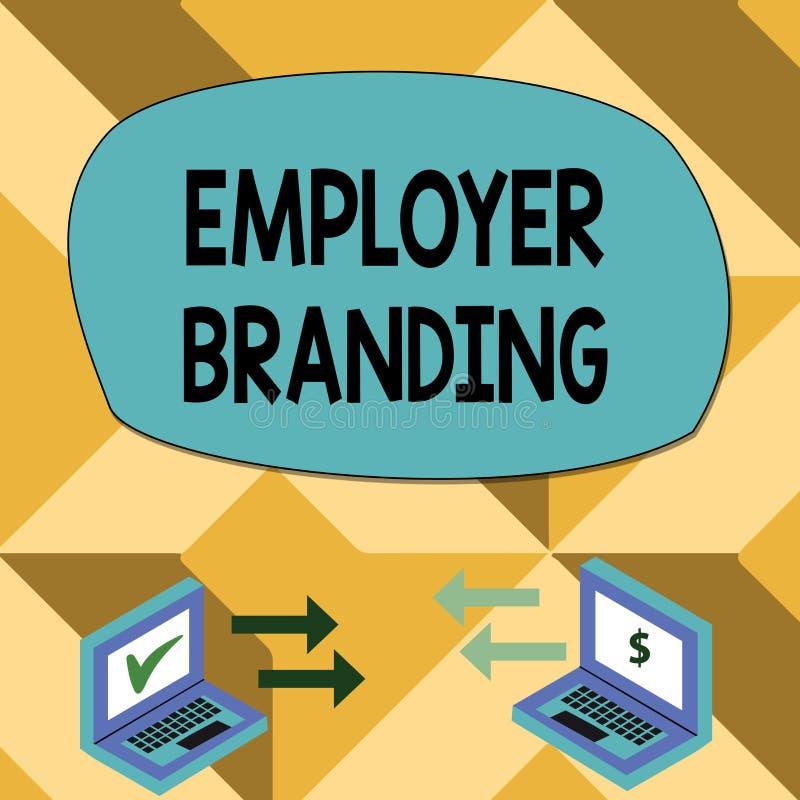 Sinal do texto que mostra a marcagem com ferro quente do empregador Processo conceptual da foto de promover uma seta da troca da  ilustração stock