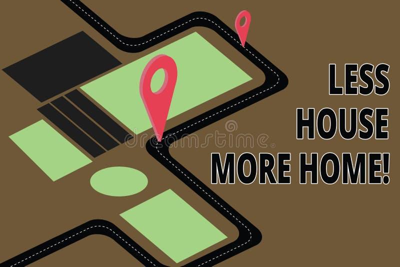 Sinal do texto que mostra a menos casa mais casa A foto conceptual tem um lugar confortável morno a viver com o mapa de estradas  ilustração royalty free