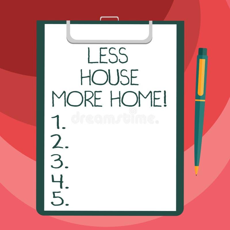Sinal do texto que mostra a menos casa mais casa A foto conceptual tem um lugar confortável morno a viver com a placa do amor da  ilustração do vetor