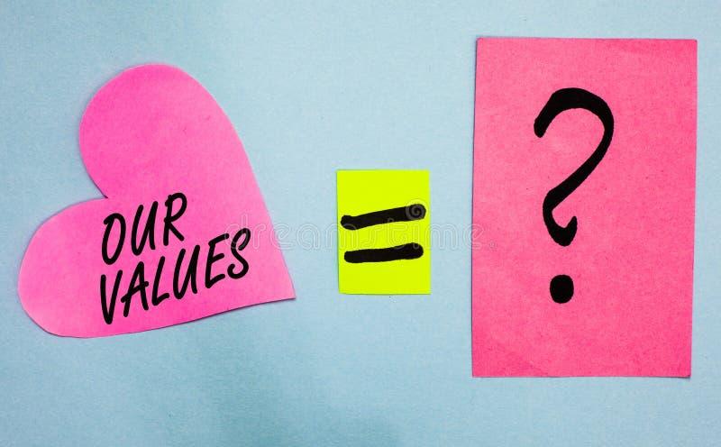 Sinal do texto que mostra nossos valores A lista conceptual da foto de empresas das morais ou os indivíduos cometem para fazê-las fotografia de stock royalty free