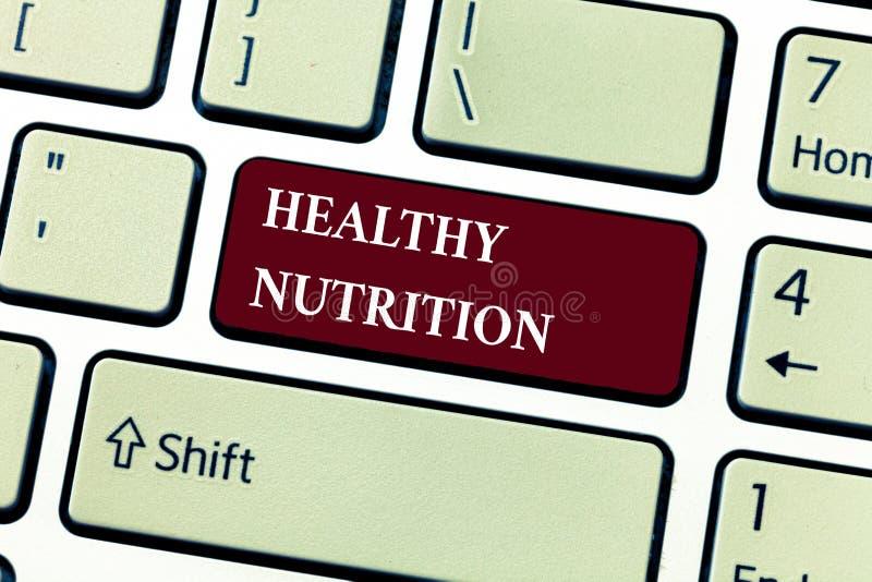 Sinal do texto que mostra a nutrição saudável Foto conceptual que come uma dieta equilibrada do alimento saudável e nutritivo imagem de stock
