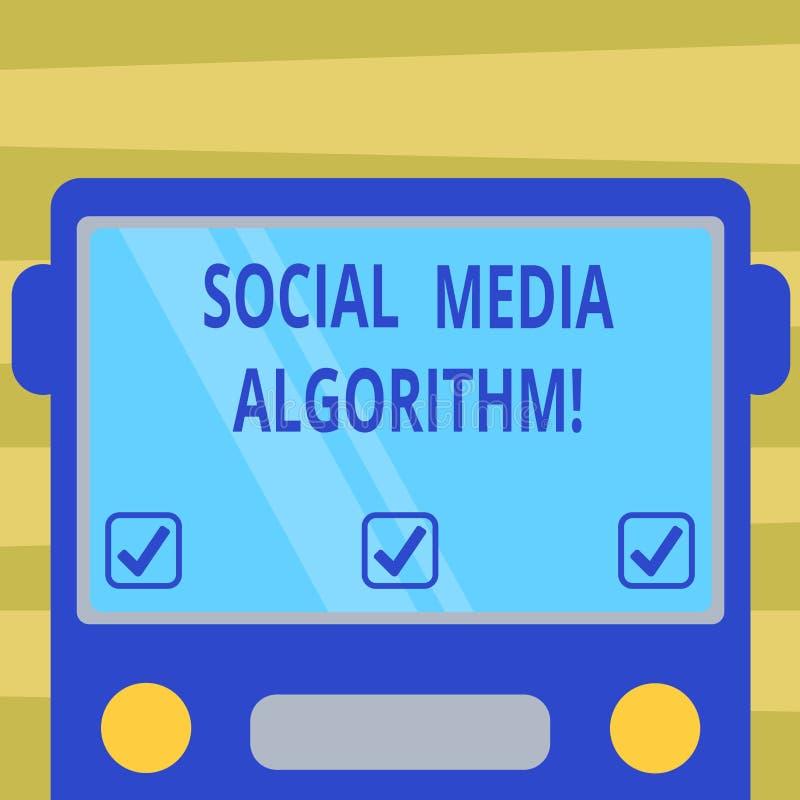 Sinal do texto que mostra o algoritmo social dos meios Foto conceptual que classifica todo o cargo e para mostrar o mais popular  ilustração royalty free