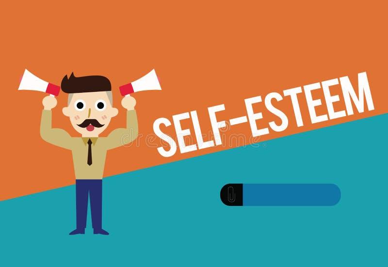 Sinal do texto que mostra o amor-próprio Confiança conceptual da foto em sua própria valor ou apreciação pessoal das capacidades ilustração stock