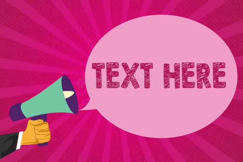 Sinal do texto que mostra o texto aqui Espaço vazio da foto conceptual para pôr o molde expresso dos sentimentos da mensagem para ilustração do vetor