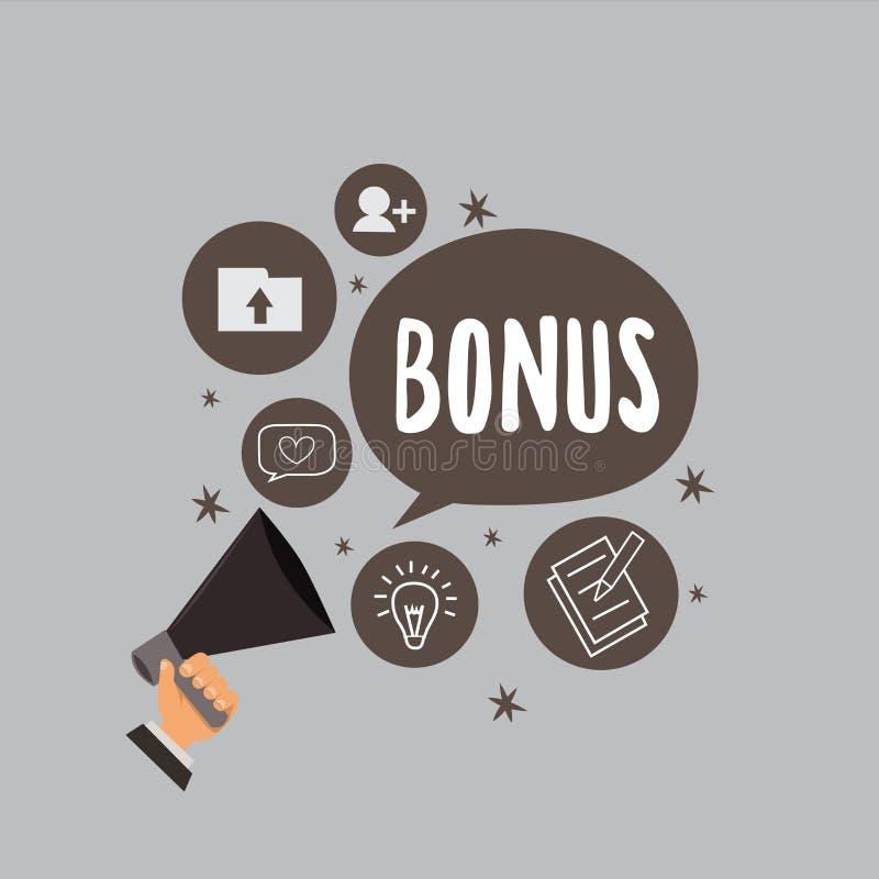 Sinal do texto que mostra o bônus A recompensa conceptual da foto para o dividendo extra e o dinheiro de bom desempenho adicionou ilustração royalty free