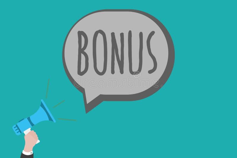 Sinal do texto que mostra o bônus A recompensa conceptual da foto para o dividendo extra e o dinheiro de bom desempenho adicionou ilustração stock