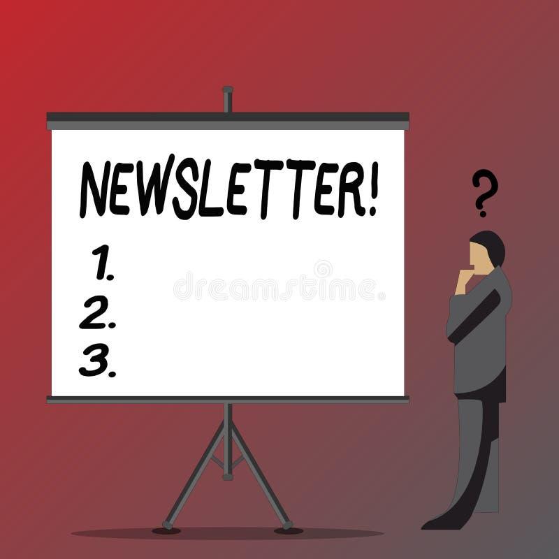 Sinal do texto que mostra o boletim de notícias Boletim conceptual da foto enviado periodicamente ao homem de negócios subscrito  ilustração stock
