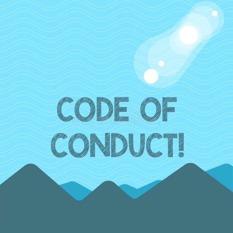 Sinal do texto que mostra o código de conduta A foto conceptual segue princípios e os padrões para a integridade do negócio veem  ilustração do vetor