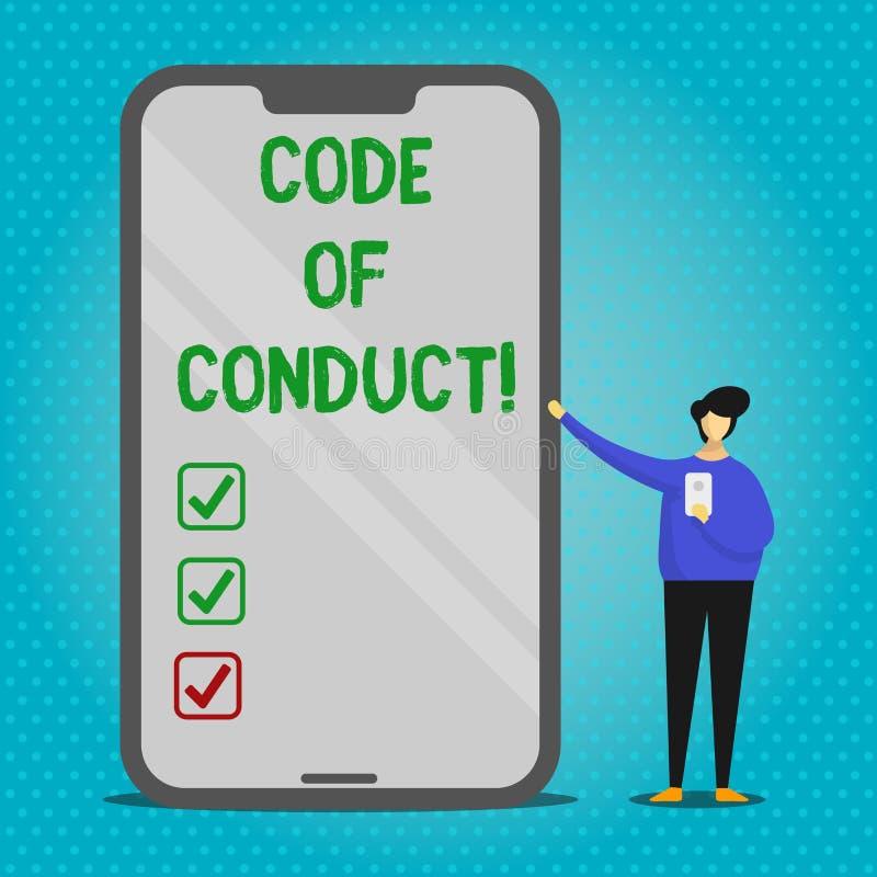 Sinal do texto que mostra o código de conduta A foto conceptual segue princípios e padrões para o homem da integridade do negócio ilustração royalty free