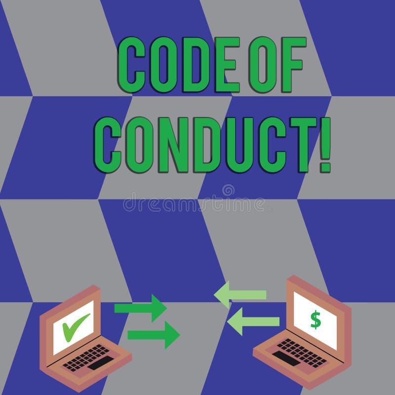 Sinal do texto que mostra o código de conduta A foto conceptual segue princípios e padrões para a troca da integridade do negócio ilustração royalty free