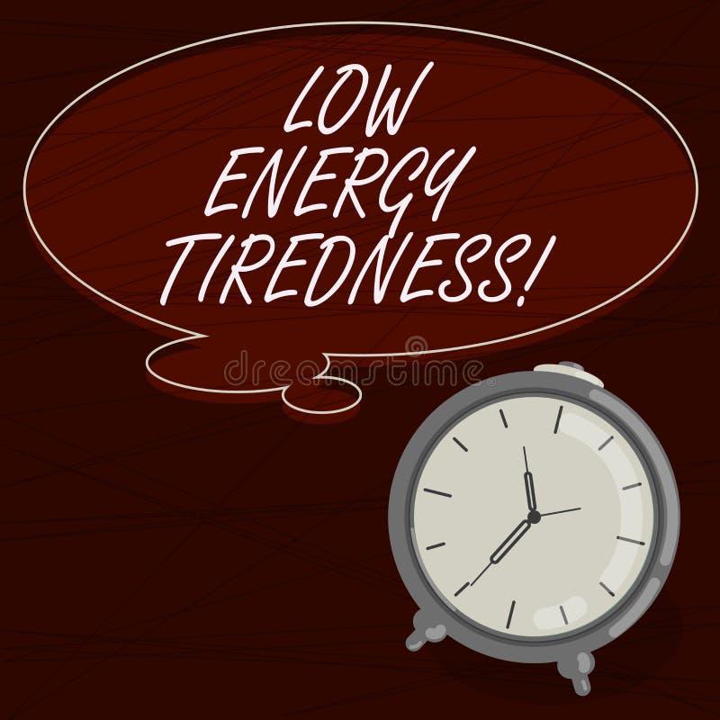Sinal do texto que mostra o cansaço da baixa energia Sentimento subjetivo da foto conceptual do cansaço que tem a placa gradual d ilustração stock