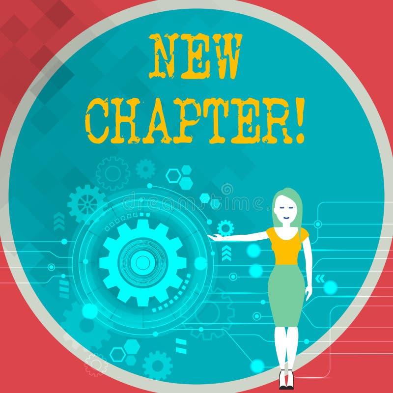 Sinal do texto que mostra o capítulo novo Foto conceptual que começa finalmente algo objetivos criados em sua posição da mulher d ilustração stock