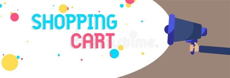 Sinal do texto que mostra o carrinho de compras Os mantimentos levando e a mercadoria do trole conceptual da caixa da foto equipa ilustração do vetor