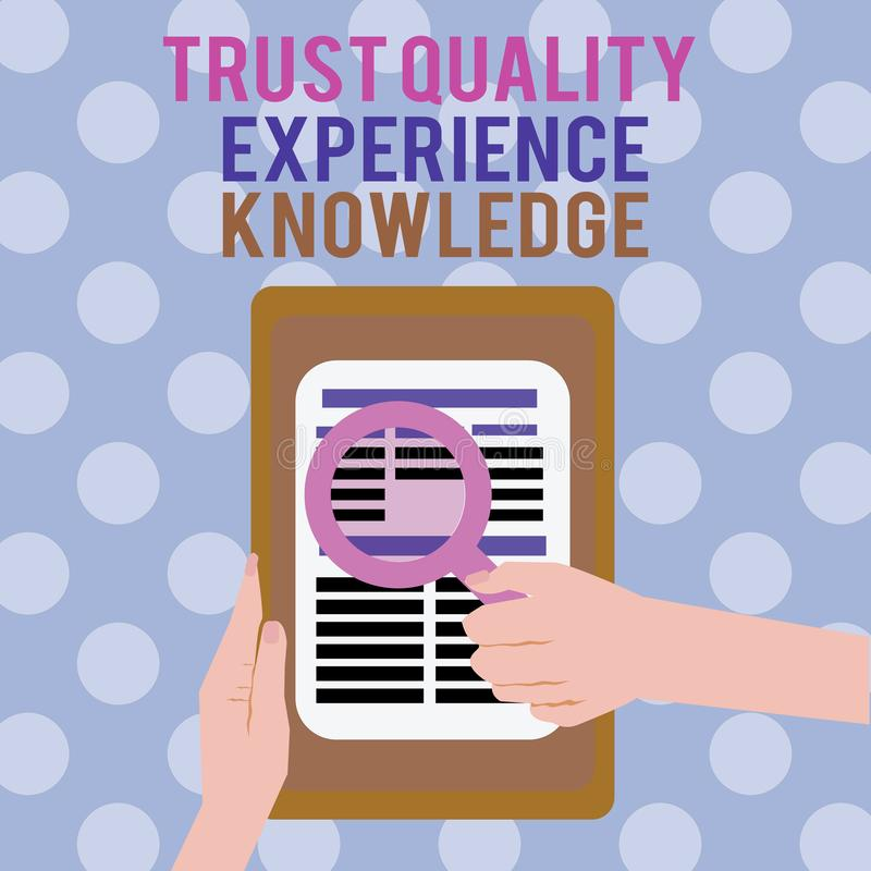 Sinal do texto que mostra o conhecimento da experiência da qualidade da confiança Serviço e satisfação conceptuais de qualidade d ilustração do vetor