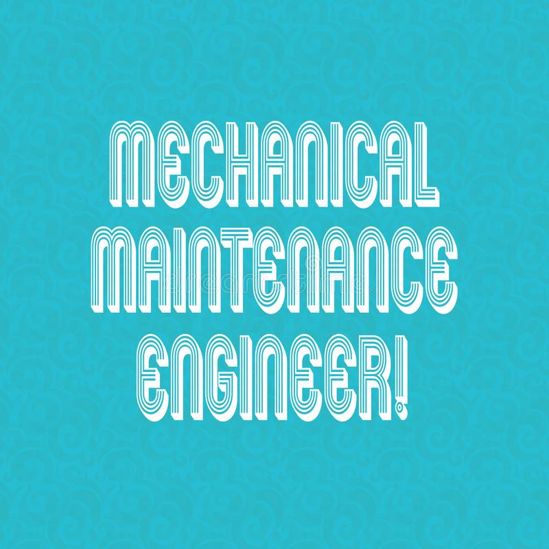 Sinal do texto que mostra o coordenador mecânico da manutenção Responsável conceptual da foto para a filigrana de intervalo mínim ilustração do vetor