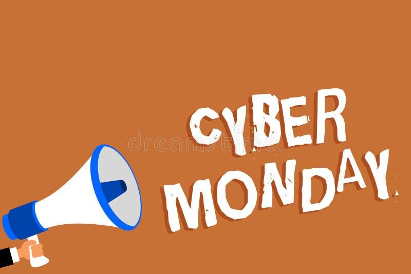 Sinal do texto que mostra o Cyber segunda-feira Termo de mercado conceptual da foto para segunda-feira após o dia de ação de graç ilustração royalty free