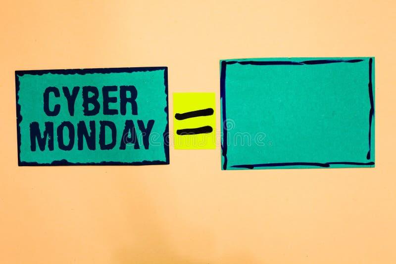Sinal do texto que mostra o Cyber segunda-feira Termo de mercado conceptual da foto para segunda-feira após o dia de ação de graç ilustração stock