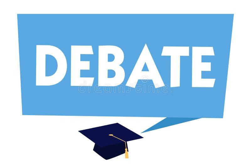Sinal do texto que mostra o debate Discussão formal da foto conceptual no detalhe na reunião ou na assembleia legislativa ilustração do vetor