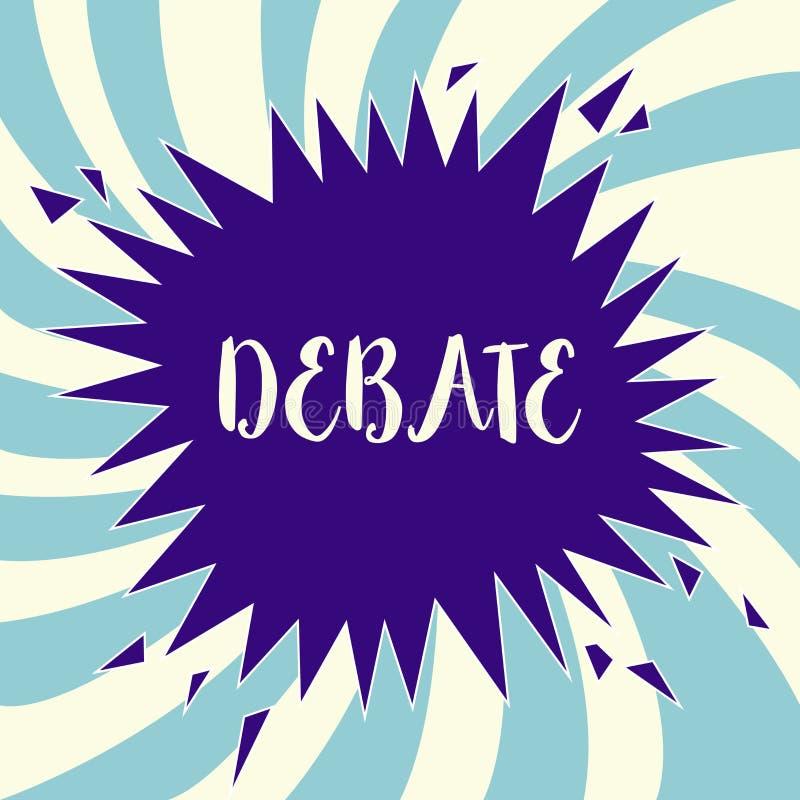 Sinal do texto que mostra o debate Discussão formal da foto conceptual no detalhe na reunião ou na assembleia legislativa ilustração royalty free