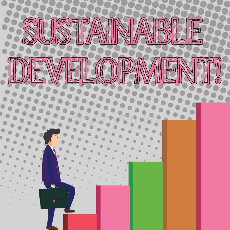 Sinal do texto que mostra o desenvolvimento sustentável Foto conceptual que torna-se sem prostração de recursos naturais ilustração stock