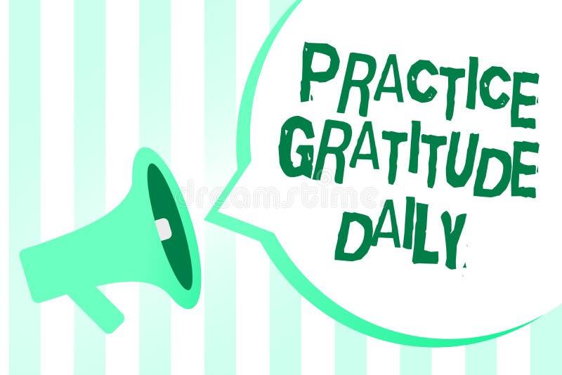 Sinal do texto que mostra o diário da gratitude da prática A foto conceptual seja grata àquelas que ajudaram encouarged o altifal ilustração stock