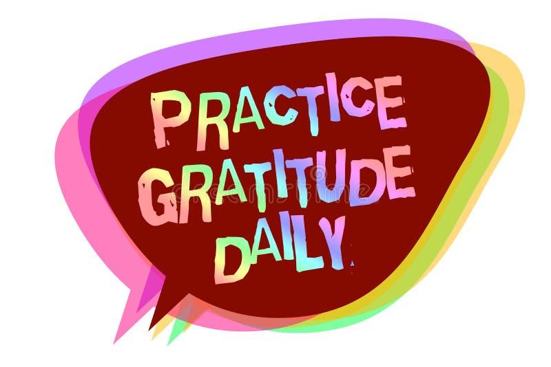 Sinal do texto que mostra o diário da gratitude da prática A foto conceptual seja grata àquelas que ajudaram encouarged o mes da  ilustração stock