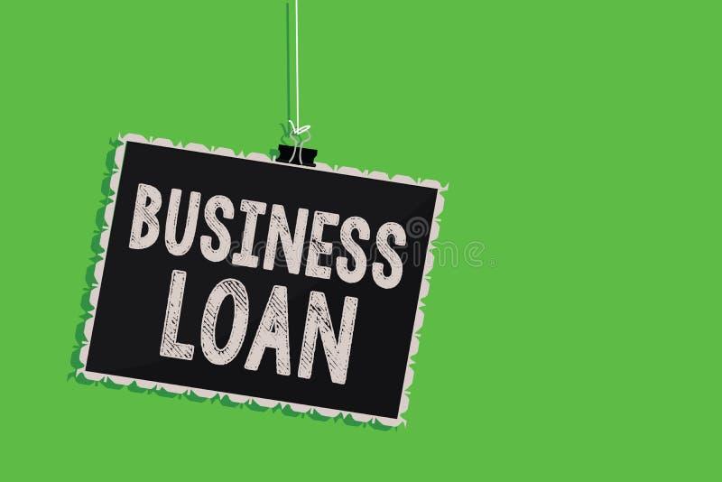 Sinal do texto que mostra o empréstimo comercial Suspensão conceptual do débito dos dinheiros adiantados da ajuda econômica da hi ilustração stock