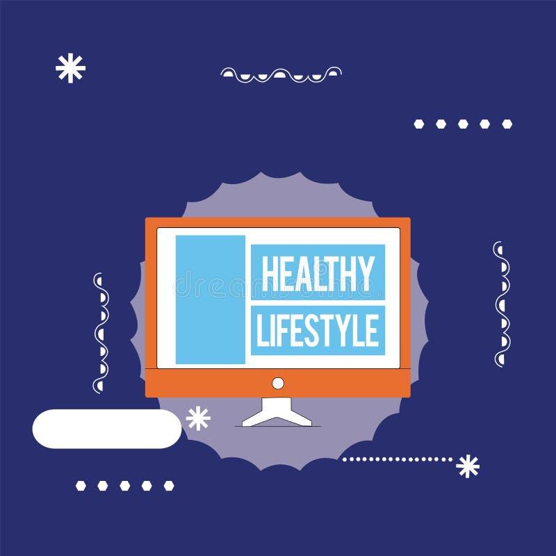 Sinal do texto que mostra o estilo de vida saudável Foto conceptual Live Healthy Engage na atividade física e no exercício ilustração do vetor