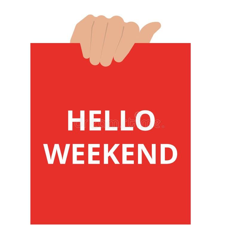 Sinal do texto que mostra o fim de semana do olá! ilustração royalty free