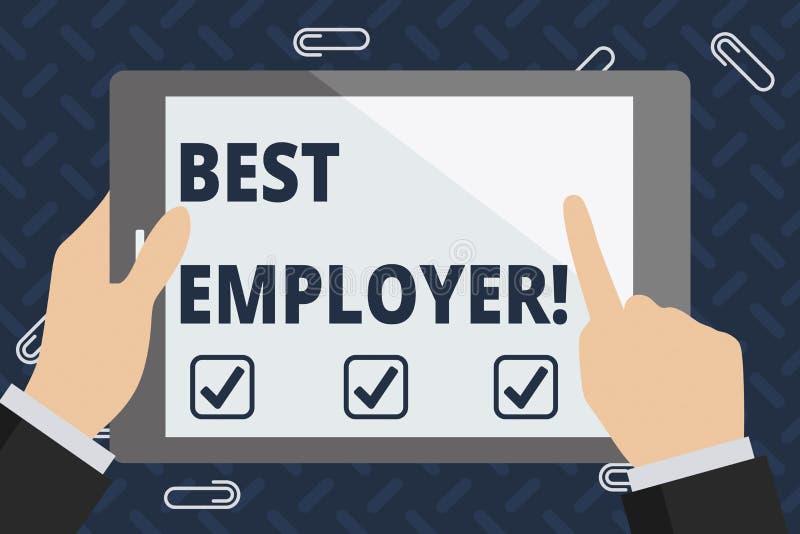 Sinal do texto que mostra o melhor empregador Foto conceptual que cria uma cultura onde os empregados sintam avaliados e apreciad ilustração do vetor